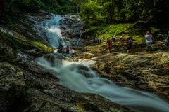 Crowded Lata Iskandar waterfall, Pahang, Malaysia royalty free stock photos