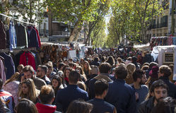 Crowded Madrid Rastro, Spain Stock Photos