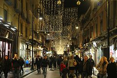 Sorrento crowd xmas. The crowded main street of sorrento in christmas season Stock Photography