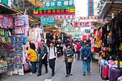 Crowded market stalls in old district Royalty Free Stock Image