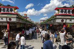 Crowded market street Stock Images