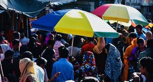 A crowded marketplace in Bangladesh unique photo. Bangladeshi people are shopping around a crowded marketplace unique photo royalty free stock photo