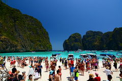 A crowded Maya beach. Phi Phi islands. Krabi. Thailand Stock Images