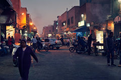 Crowded medina of Marrakesh ( Morocco ) by night Stock Photo