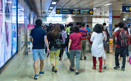 Crowded MRT rail station in Bangkok. Royalty Free Stock Photos