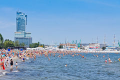 Crowded Municipal beach in Gdynia, Baltic sea, Poland Stock Image
