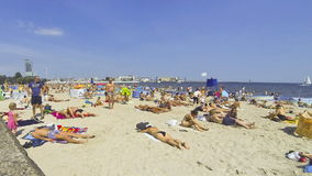 Crowded Municipal beach in Gdynia, Baltic sea, Poland stock footage