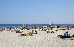 Crowded Municipal beach in Gdynia, Baltic sea, Poland Stock Image