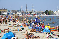 Crowded Municipal beach in Gdynia, Baltic sea, Poland Stock Photography