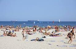 Crowded Municipal beach in Gdynia, Baltic sea, Poland Stock Photos