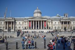 Crowded National Gallery on Trafalgar square in London, England royalty free stock photos