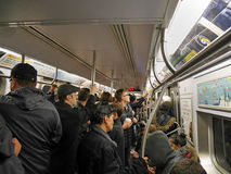 Crowded New York subway train Royalty Free Stock Images