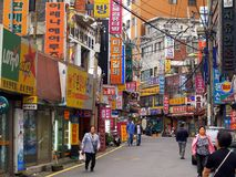 Crowded Old Town Street, Seoul Royalty Free Stock Photography
