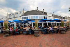 Crowded Outdoor Patio, eatery in coastal Massachusetts Royalty Free Stock Photos