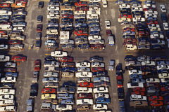 Crowded parking loot. Arial view  of crowded parking loot Royalty Free Stock Images