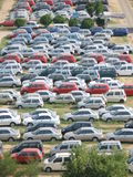 Crowded parking lot. A view of a crowded parking lot with the emphasis on cars of similar make and color Stock Images