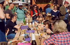 Crowded party with hungry people, meals and drinks outdoor Royalty Free Stock Photo