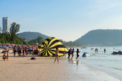 Crowded Patong beach with tourists, Phuket, Thailand Stock Images