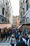 Crowded Pedestrian Street in Venice, Italy Stock Photo