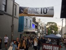 Crowded people in the annual event of William Street festival at Paddington, New South Wales. SYDNEY, AUSTRALIA. – On October 20, 2018. - Crowded people stock photography