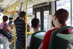 Crowded people in the bus Royalty Free Stock Photos