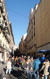 Crowded people at El Rastro on Sunday morning Royalty Free Stock Images