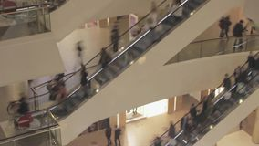 Crowded people on escalator in a shopping mall Hyperlapse video