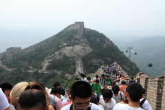 Crowded People at the Great Chinese Wall Royalty Free Stock Images