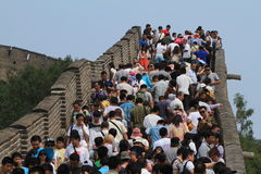Crowded People at the Great Chinese Wall Royalty Free Stock Photography