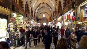 Crowded people inside Egyptian Spice Grand Bazaar of Eminonu district, the old city of istanbul