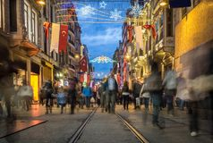 Crowded people Istiklal Street Royalty Free Stock Photography