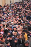 Crowded people street scene Stock Photos