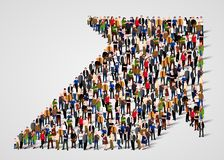 Crowded people vector arrow symbol Stock Photography