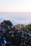 Crowded people are waiting for the first light in the dawn of new year`s day with trees in background at Tiger Hill, Darjeeling. Royalty Free Stock Photos