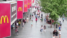 Crowded people in Xidan street at daytime HD. stock video footage