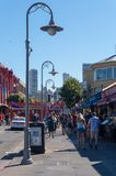 Walking near the Pier 39 and The Embarcadero street area. Crowded Pier 39 in San Francisco USA Stock Photo