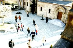 Crowded plaza. People in a church plaza seen from a terrace Royalty Free Stock Photos