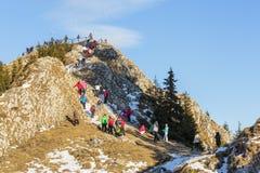 Crowded Postavaru summit, Romania Royalty Free Stock Photo