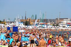 Crowded public beach in Gdynia on Baltic sea Royalty Free Stock Image