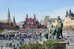Crowded Red Square at Nice Autumn Day Stock Image