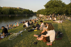 Crowded river banks in berlin, germany Royalty Free Stock Image