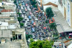 Crowded road traffic seen from top. With many motorcycles parking in side of road, make traffic jam Royalty Free Stock Photos