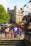 Crowded Rochester Castle Grounds Stock Images