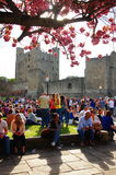 Crowded Rochester Castle Grounds Stock Photo