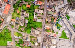Crowded Roofs In Banos De Agua Santa, Ecuador stock image