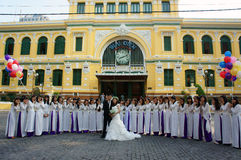 Crowded, Saigon central post office, student, bride, traveller Royalty Free Stock Photo