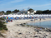 Crowded salento beach Royalty Free Stock Photography