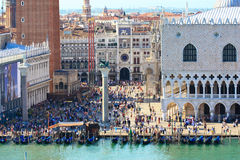 Crowded San Mark's square. Lots of people in the very heart of venice - San mark's square Stock Images