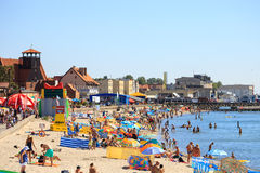 Crowded sandy beach Stock Image