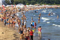 Crowded sandy beach in Sopot Royalty Free Stock Photo